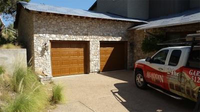 woodgrain metal garage door installation