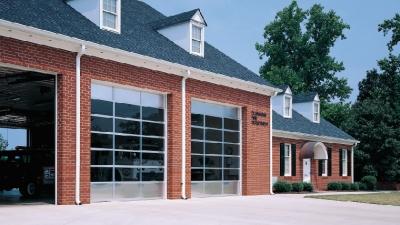 fire station glass garage doors