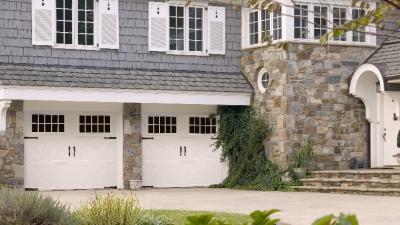 white dual garage doors