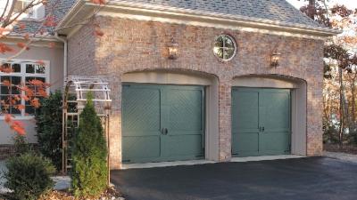 green residential garage doors